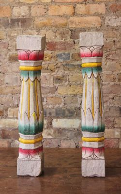Small Stone Painted Pillars (Pair) <b>SOLD<B>